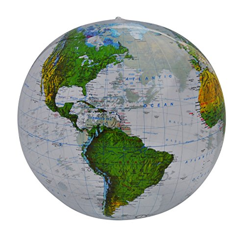 Jet Creations Topographic Globe Clear 16 inch Inflatable- for Educational Kids and Adults
