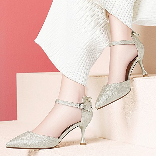 Jqdyl With Shoes Version Heels Singles Heeled High The Women'S Summer Fashion Korean High New heels Ladies Shoes Of High Golden rrvpP
