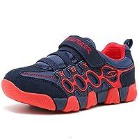 HOBIBEAR Boys Girls Sneakers Kids Hook and Loop Lightweight Running Shoes,Red/Blue,12.5 M US Little Kid