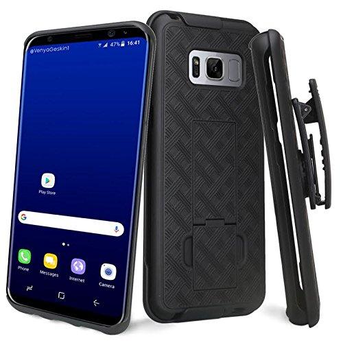 Samsung Galaxy S8 Plus Case, Galaxy S8 Plus Black Swivel Slim Belt Clip Holster Armor Protective Case, Defender Cover for Galaxy S8+ Plus (Black Holster Shell Combo) (Black)