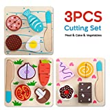 Yinan Wooden Blocks Set/Wooden Pretend Play Cutting Vegetable Food Set/Kitchen Puzzle Toys with Chopping Block Knife for Toddlers/Educational Play set for kids, Wooden Puzzles Cutting (Set of 3)