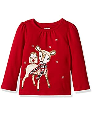 Baby Girls' Deer and Owl Grey Graphic Tee