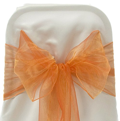 Firefly Imports Organza Chair Bows Sash, Orange, 9-Inch by 10-Feet (Ben 10 Table Cover)