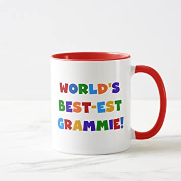 Zazzle Bright Colors Worldu0027s Best Est Grammie Gifts Two Tone Coffee Mug, Red