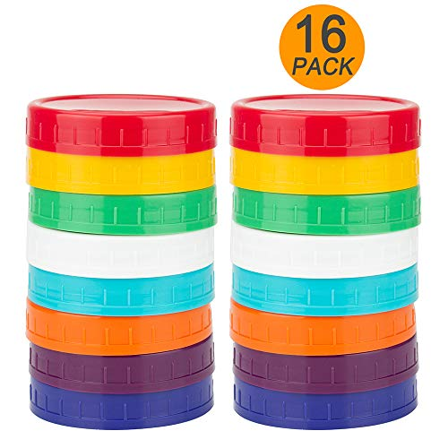 16 Pack Colored Plastic Mason Jar Lids for Wide Mouth Lid Mason Jars by WISH
