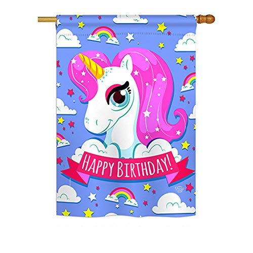 - Ornament Collection H192067 Magical Unicorn Birthday Special Occasion Party & Celebration Decorative Vertical House Flag, 28