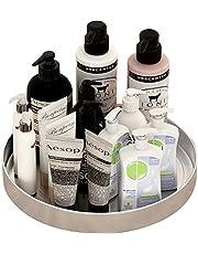 Rostfritt stål vridbar kryddhylla organisatör make-up förvaring för skåp, skafferi, kylskåp, badrum, bänkskiva
