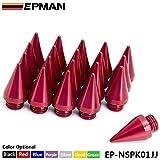 EPMAN Fantastic Look Aluminum Wheel Lug nuts Spikes Spear tip Extened Tuner JDM Racing M14 x 1.5 (Red, Pack Of 20)