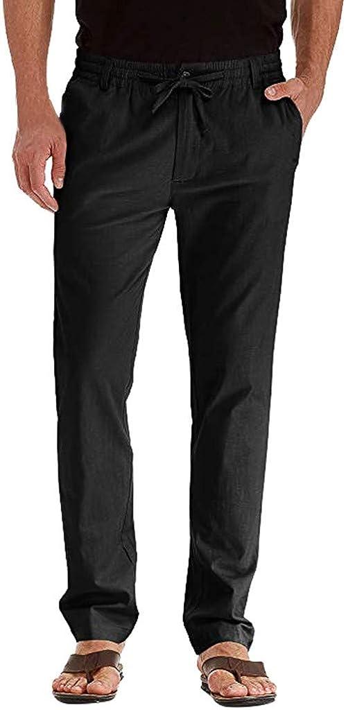 FRAUIT Pantaloni Uomo Lino Tasconi Pantaloni Ragazzo Slim Fit Elasticizzati Pantalone Uomini Casual Plus Size Oversize Pantaloni Estivi da Lavoro Cargo Leggeri con Tasche Pantaloncini