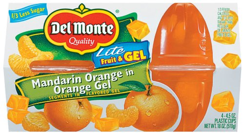 Del Monte Mandarin Orange Gel, 4-Count Cups (Pack of 6) by Del Monte