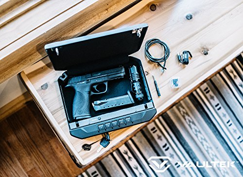 Vaultek VR10 Bluetooth Handgun Safe Quick Access Pistol Safe with Auto Open Lid and Rechargeable Lithium-ion Battery