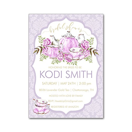 Set of 12 Personalized Bridal Wedding Shower Invitations and Envelopes with Watercolor Tea Party Teapot in Purple and Gold NVB8036 -