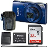 Canon PowerShot ELPH 190 IS Digital Camera (Blue) with 32GB Memory + Case