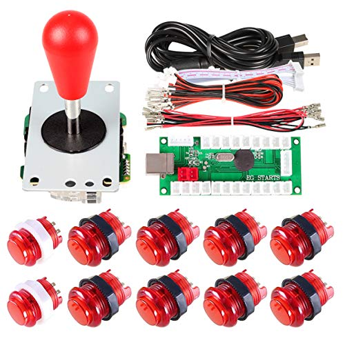 Avisiri 1 Player Arcade Buttons Joystick DIY Kit Parts Include 1x Ellipse Balltop Handle Stick 10x LED Arcade Button 1x USB Encoder Controller for PC MAME Raspberry Pi Windows (Red)
