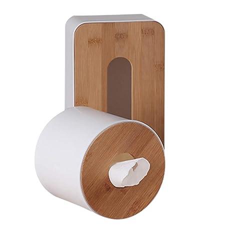 Caja de pañuelos de bambú, de madera natural, rectangular, con parte inferior extraíble