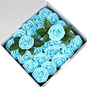 Febou Artificial Flowers, 50 pcs Real Touch Artificial Foam Roses Decoration DIY for Wedding Bridesmaid Bridal Bouquets Centerpieces, Party Decoration, Home Office Decor (Standard Type, Light Blue) 76