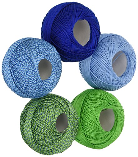 - Handy Hands DPN-7121 Lizbeth Specialty Pack Cordonnet Cotton (5 Pack), Size 10, Lagoon Mix, Multicolor