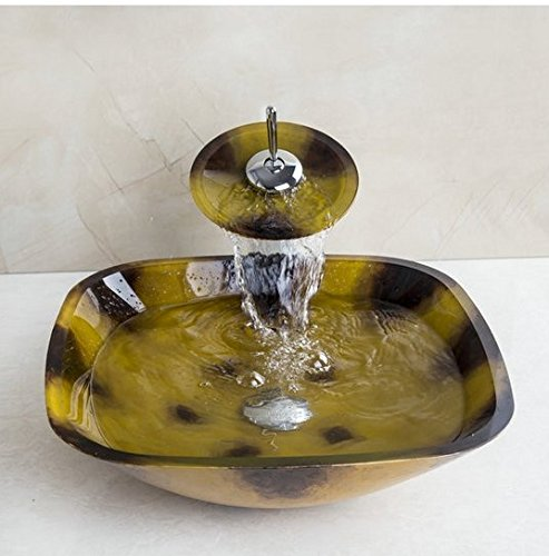 GOWE Countertop Basin Sink Tempered Glass Washbasin Vessel Vanity with Brass Waterfall Faucet Mixer Tap 0