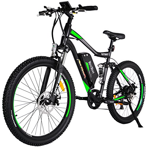 Addmotor HITHOT Electric Bicycles Mountain Full Suspension Electric Bikes 48V 500W Motor 10.4 Ah Samsung Lithium Battery Pedal Assist H1 2018 Ebikes For Men(Green) - Electric Suspension