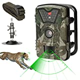 Game Trail Camera 1080P HD 12MP with Sound IP66 Waterproof Scouting Camera with No Glow Black Infrared Night Vision 0.5s Trigger Speed 2.4in LCD Screen for Wildlife Hunting and Home Security
