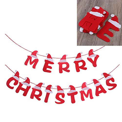 LUOEM Merry Christmas Fabric Banners Wall Hanging Decoration with Santa Hat Design Christmas Party Favors ()