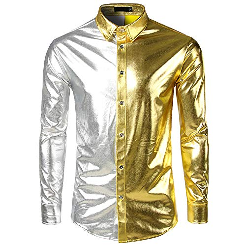 Men New Painted Long-Sleeved Shirts with Bright Surface Coating Fashion ()