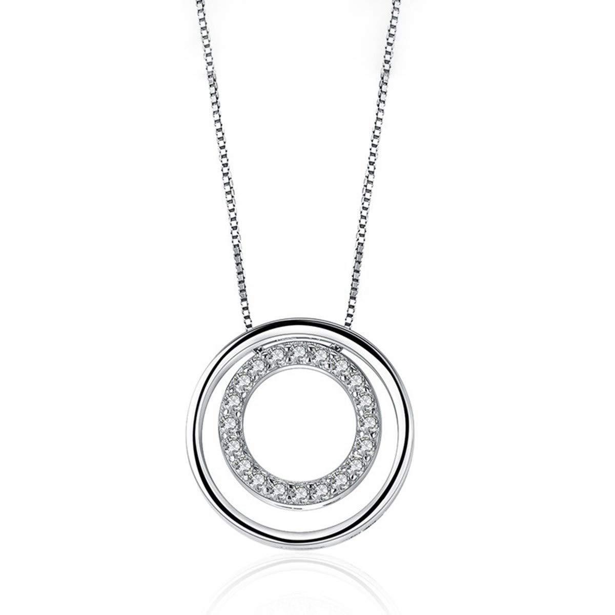 Liancie Pendant Cubic Zirconia Concentric Sterling Silver Pendant Fashion Clavicle Chain