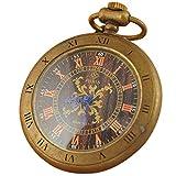 VIGOROSO Men's Copper Retro Hand Wind Steampunk Pendant Roman Numerals Mechanical Pocket Watch
