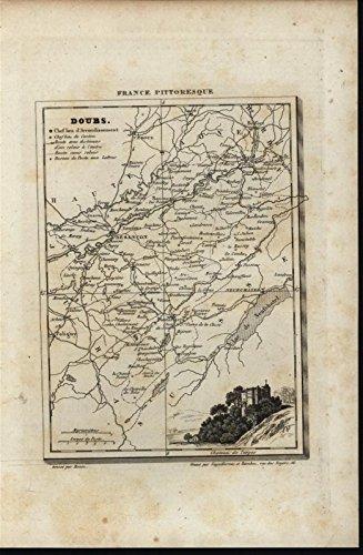 Doubs France Torpes Castle 1835 antique engraved - Map 1835 Antique