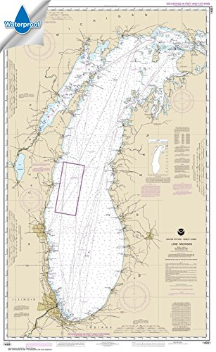 NOAA Chart 14901: Lake Michigan (Mercator Projection) 28.7 x 46.7 (WATERPROOF) (Nautical Chart Lake Michigan)