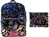 Style.Lab Magic Sequin Scattered Iridescent Velvet Crush Backpack + Pencil Pouch