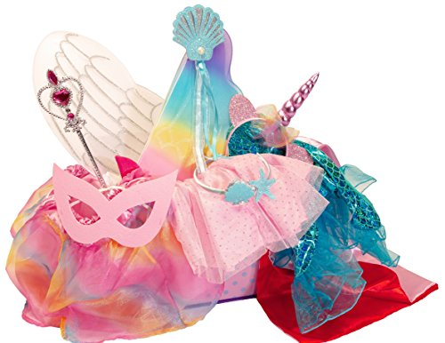 (Girls Dress Up Set: Unicorn, Superhero, Angel, Mermaid, Princess - with Storage bin Pink)