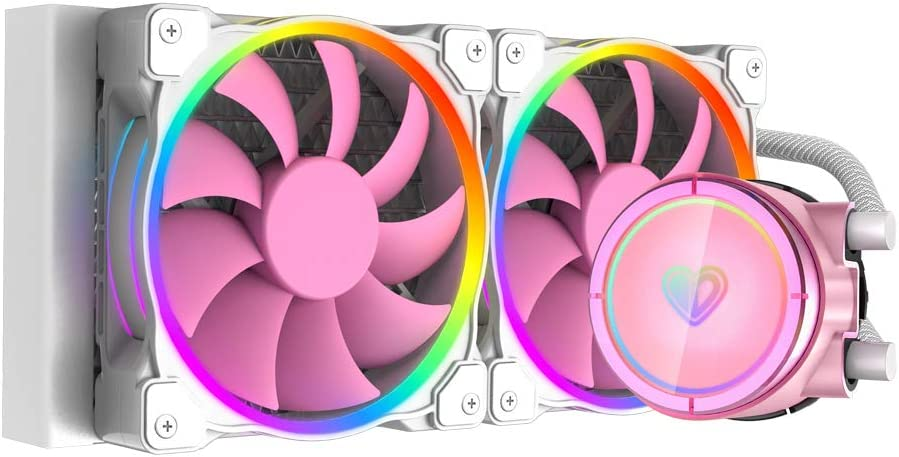ID-COOLING PINKFLOW 240 CPU Water Cooler 5V Addressable RGB AIO Cooler 240mm CPU Liquid Cooler 2X120mm RGB Fan, Intel 115X/2066, AMD TR4/AM4 (Remote Controller is Included)