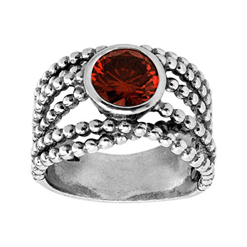 Silpada 'Claret' Red Cubic Zirconia Criss-Crossed Ring in Sterling Silver