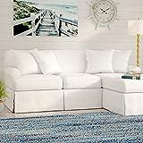 Ottoman for Sale Near Me Sunset Trading SU-117678-391081 Horizon Slipcovered Chaise -Performance White Sleeper Sofa, Small