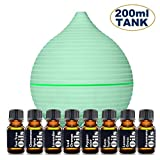 essential oil bottle starter kit - Essential Oil Diffuser Starter Kit – Includes Top 8 Essential Oils (Tea Tree, Lavender, Peppermint & more) - Large 200ml Tank Quietly Mists up to 4 Hours – Auto Shut Off - Multi Colored LED