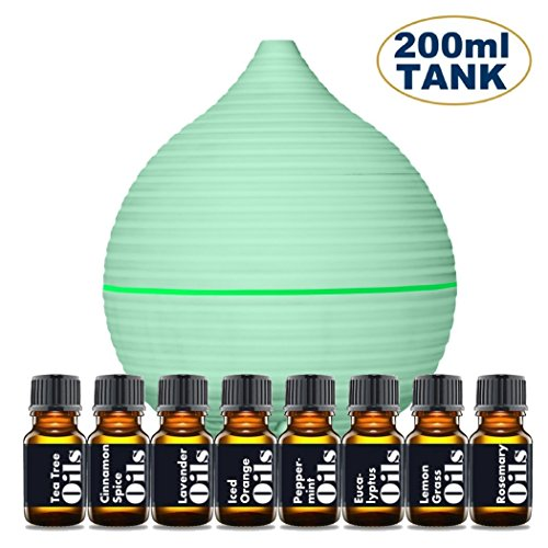 Organic Room Diffuser (Essential Oil Diffuser Starter Kit – Includes Top 8 Essential Oils (Tea Tree, Lavender, Peppermint & more) - Large 200ml Tank Quietly Mists up to 4 Hours – Auto Shut Off - Multi Colored LED)