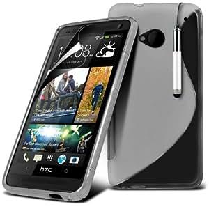 (Clara) HTC M7 a una línea de protección Ola Gel piel cubierta de la Caja, Retráctil Capacative Pantalla Táctil Lápiz Óptico y pantalla LCD Protector de Spyrox