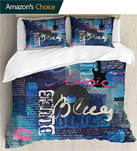 Full Queen Duvet Cover Sets,Box Stitched,Soft,Breathable,Hypoallergenic,Fade Resistant 100% Cotton Reversible 3 Pieces Kids Girls Boys Bedding Sets-Old Newspaper Blues Genre Elements (80