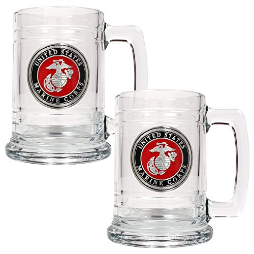 Great American Products Marines Tankard Set (2-Piece), 15-Ounce, Clear ()