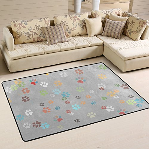LORVIES Colored Paws Area Rug Carpet Non-Slip Floor Mat Doormats for Living Room Bedroom 72 x 48 inches (Paw Print Rug)