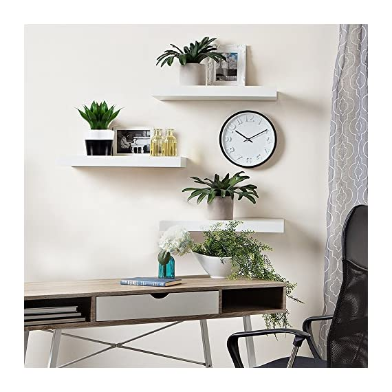 """INART White Floating Shelves Wall Mounted Display Ledge Storage Shelf, Easy To Install, Set of 3 (5.9"""" Deep) - DECORATIVE WALL SHELF: Decorative and functional for your home, office, or dorm room; use to display vases, small pictures and more HIGH QUALITY: Made of lightweight and high quality MDF. These wall shelves are fits in any room WALL MOUNTED SHELF DIMENSION: 14.9 in W x 1.3 in H x 5.9 in D - wall-shelves, living-room-furniture, living-room - 51ZF evaWbL. SS570  -"""