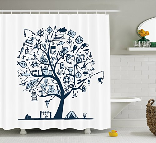 Fishing Decor Shower Curtain by Ambesonne, Cute Tree of Life with Marine Objects Anchor Wind Rose Compass Reel Nature, Fabric Bathroom Decor Set with Hooks, 70 Inches, Light Blue