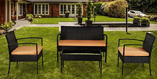 IDS Home Outdoor Garden Lawn Patio Furniture Sofa Set PE Rattan Wicker Cream/Brown Cushioned Black Seat table 4-Piece