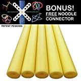 Oodles of Noodles Deluxe Foam Pool Swim Noodles - 5 PACK Approx 52 Inch Wholesale Pricing Bulk Yellow