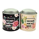 Leiqin Secret Forest Seamless Metal Tin Floral Storage Case Candy Jar with 2 Layer Lid for Art Handcraft Jewelry -2PCS