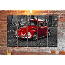 """5 PANEL SET OF VINTAGE CLASSIC CAR CANVAS WALL ART / CANVAS PRINT POSTER PICTURE / VOLKSWAGEN VW BEETLE BUG WALL PRINT POSTER PAINTING ON CANVAS / HOME WALL DECORATION ON CANVAS / OVERALL SIZE 60""""35"""""""