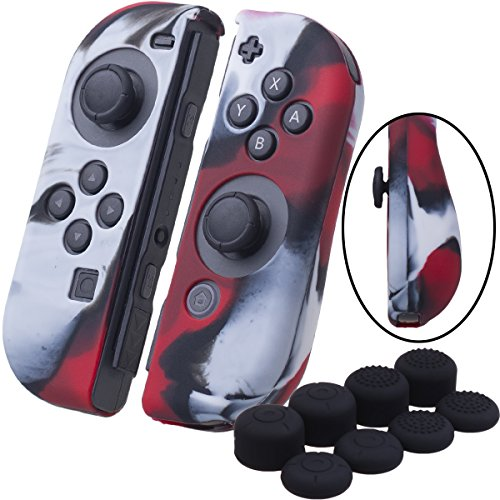 YoRHa Hand grip Silicone Cover Skin Case x 2 for Nintendo Switch/NS/NX Joy-Con controller (camouflage red) With Joy-Con thumb grips x 8 For Sale