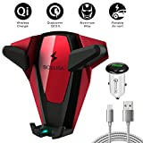 Wireless Car Charger, BOSLISA X-Man Wireless Charger Car Mount, Air Vent Phone Holder, QC3.0 Fast Charging Compatible for iPhoneX/8/8 Plus/Samsung Galaxy S9/8/7/Note 8 and More Qi Phones (Red)