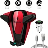 Wireless Car Charger, BOSLISA X-Man Wireless Fast Charger Car Mount, Air Vent Phone Holder, Compatible iPhone XS MAX/XR/XS/X/8/8 Plus Samsung Galaxy S9/8/7/Note 8/9 and All Qi-Enabled Phones (Red)